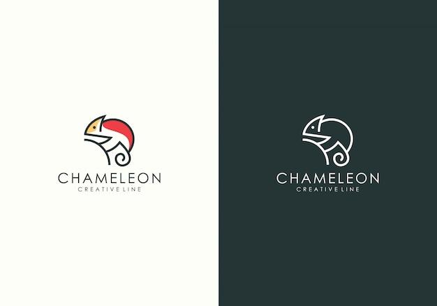 Chameleon modern line art logo