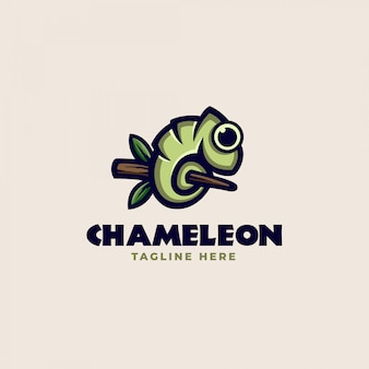 A chameleon on a tree trunk logo template. vector illustration