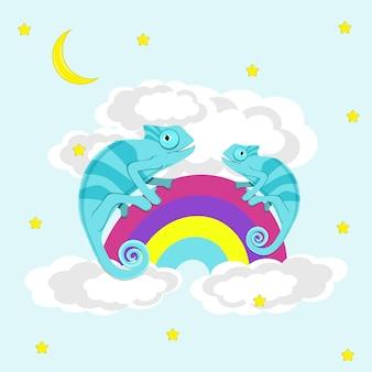 Хамелеоны, идущие по радуге. плоские векторные иллюстрации.
