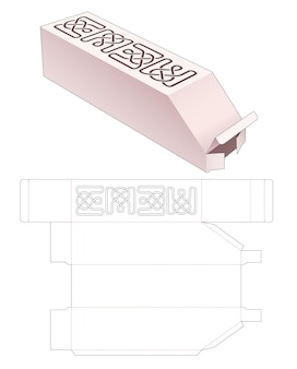 스텐실 라인 다이 컷 템플릿이있는 챔퍼 병 포장 상자