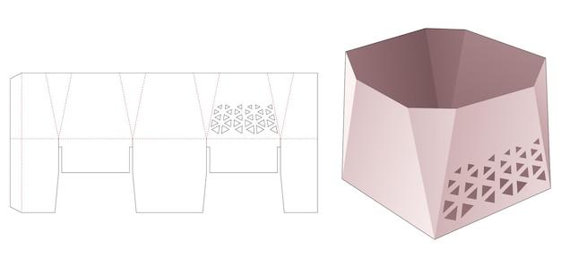 스텐실 삼각형 다이 컷 템플릿이 있는 모따기된 그릇