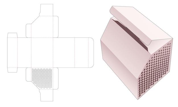 스텐실 하프 톤 도트 다이 컷 템플릿이있는 모따기 상자
