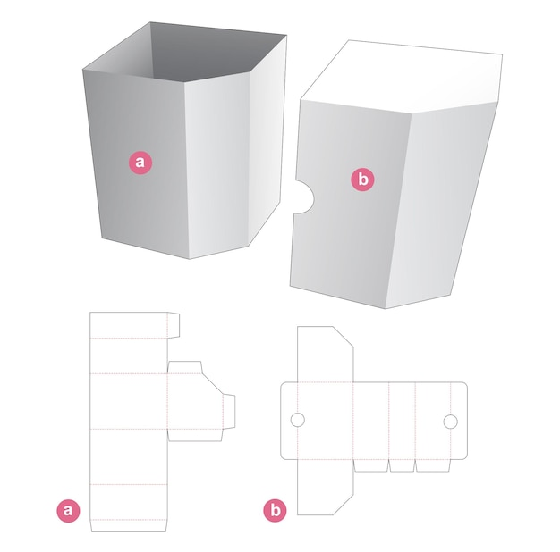Chamfered corner box with cover die cut template