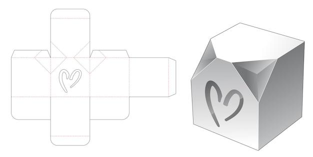 심장 모양의 창 다이 컷 템플릿이있는 모따기 코너 상자