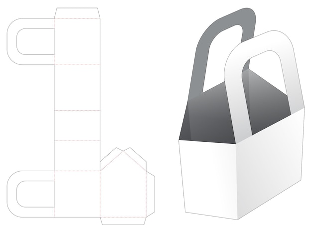 Chamfered handle bag die cut template