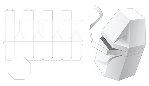 지퍼 다이 컷 템플릿이있는 모따기 된 팔각형 상자