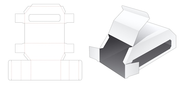 Chamfered packaging box with side window die cut template