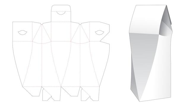 Chamfered pylon flip box die cut template