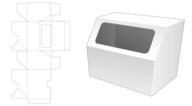 상단 플립 다이 컷 템플릿에 창이있는 모서리를 깎은 장난감 상자