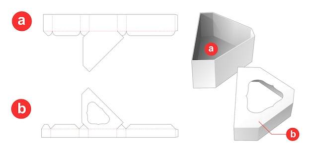 面取りされた三角形のギフトボックスと、ウィンドウ上部に型抜きされたテンプレートがある蓋