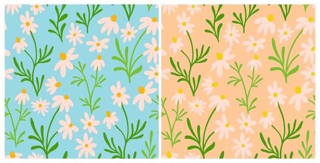 Набор ромашки и ромашки бесшовные модели. полиграфический дизайн wildflower с рисованной цветами на синем фоне. простая коллекция полевых цветочных узоров для упаковки, дизайна ткани. орнамент из цветущих трав