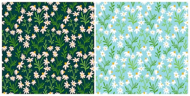 Набор ромашки и ромашки бесшовные модели. полиграфический дизайн wildflower с рисованной цветами на темном фоне. простая коллекция полевых цветочных узоров для упаковки, дизайна ткани. орнамент из цветущих трав