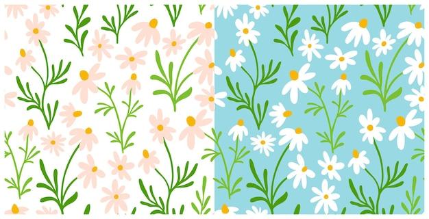 Набор ромашки и ромашки бесшовные модели. полиграфический дизайн wildflower с рисованной цветами на светлом фоне. простая коллекция полевых цветочных узоров для упаковки, дизайна ткани. орнамент из цветущих трав
