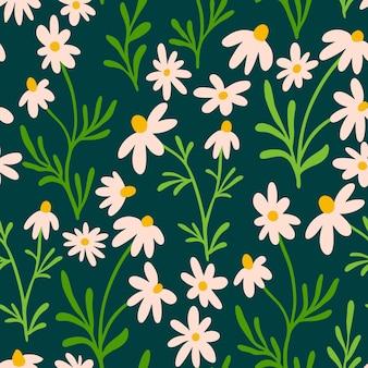 Ромашка и ромашка бесшовные модели. полиграфический дизайн wildflower с рисованной цветами на темном фоне. простой цветочный узор поля для упаковки, дизайн ткани. цветущие травы орнамент.
