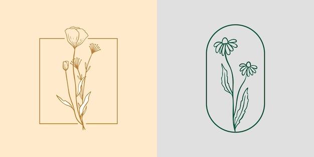 카모마일과 양귀비 아이콘 로고 세트입니다. 야생화 선형 레이블 스케치입니다. 브랜딩을 위한 데이지 프레임 엠블럼. 빈티지 손으로 그린 허브를 설명합니다. 모던 심플 스타일. 벡터 일러스트 레이 션 배경에 고립입니다.