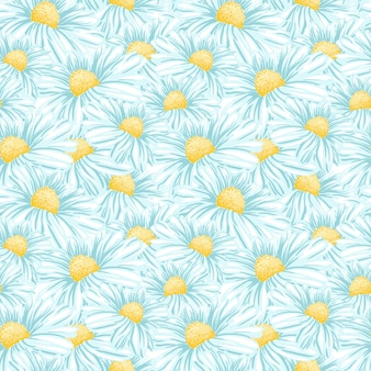 Chamomile or daisy seamless pattern