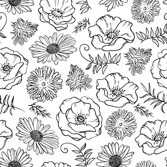 Chamomile dandelion and poppy monochrome floral sketch   seamless pattern