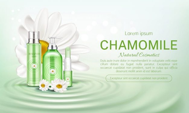 Chamomile eco cosmetics bottles  banner