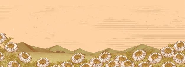 Цветочное поле ромашки и горы в стиле гравюры