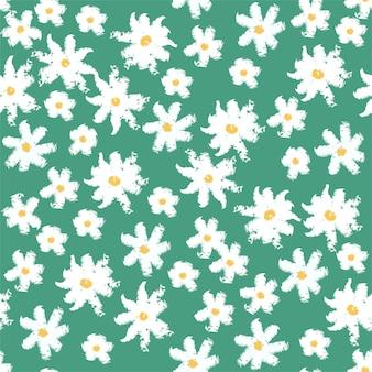 카모마일 꽃 원활한 배경 벡터 일러스트 레이 션. 섬유 디자인 배경 텍스처입니다. 여름 패턴 디자인입니다.