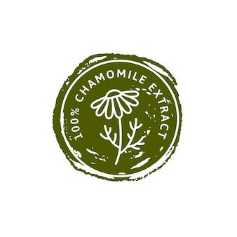 추세 선형 스타일의 카모마일 꽃 허브 유기농 배지 및 아이콘 - 의료 카모마일의 벡터 로고 스탬프는 차, 화장품, 의약품, 생물학적 첨가제 포장에 사용할 수 있는 템플릿입니다.