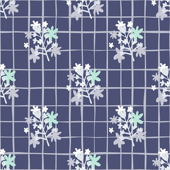 카모마일 꽃 추상 꽃다발 원활한 패턴 블루 톤