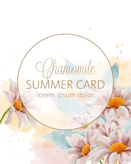 Chamomile flowers summer card with place for text in golden circle