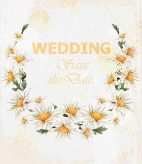 カモミール花結婚式の花輪カード