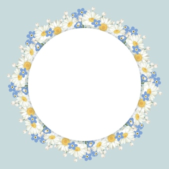 Chamomile and forget-me-not flowers frame