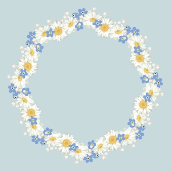 Chamomile and forget me-not-pattern on blue background. daisy chain.