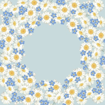 Chamomile and forget me-not-pattern on blue background. daisy field. round frame