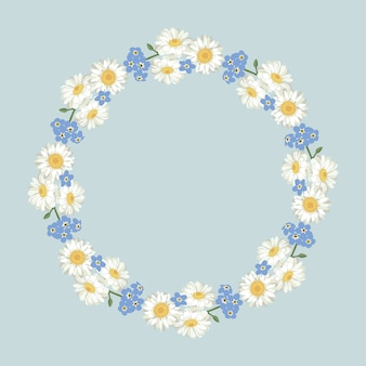 Chamomile and forget-me-not pattern on vintage blue background.