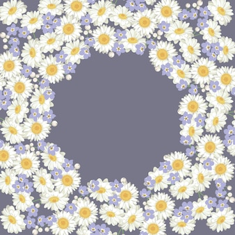 Chamomile and forget me-not-pattern on violet purple background.