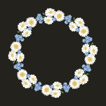 Chamomile and forget me-not-pattern