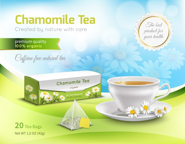 Chamomile tea advertising realistic composition