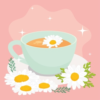 Chamomile tea cup and flowers