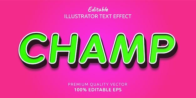 Champ редактируемый эффект стиля текста
