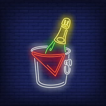 Champagne bottle in bucket neon sign