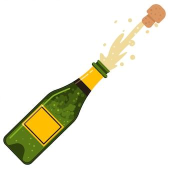 Взрыв пробки от бутылки шампанского. мультфильм плоский значок игристого вина, изолированные на белом фоне.