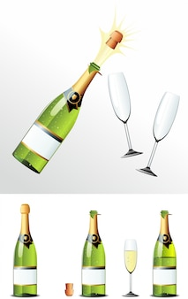 Champagne bottle cork and glasses.  illusration