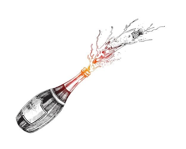 お祝いポスターのシャンパンボトル爆発