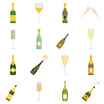 Champagne bottle glass icons set vector isolated