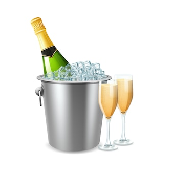 Champagne bottle in ice bucket and two full glasses realistic