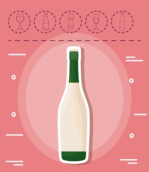 Champagne bottle and picnic related icons over pink background, colorful design. vector illustration