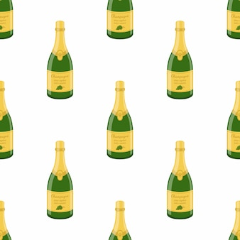 Champagne bottle seamless pattern