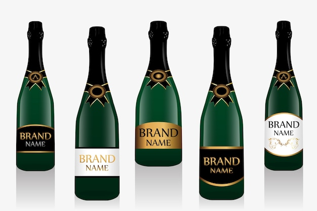 Champagne bottle or sparkling wine with label.