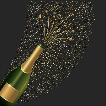 Champagne bottle splashing to new year