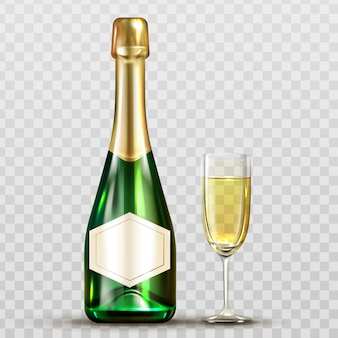 Champagne bottle and wineglass isolated clip art