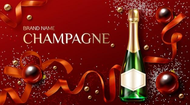 Бутылка шампанского с рождественские или новогодние украшения. рекламный шаблон
