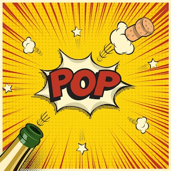Champagne bottle with flying cork and pop word, holiday element in comic book or manga style.